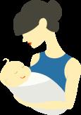 Женщина держит новорожденного